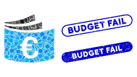 Mosaic Euro checkbook and grunge stamp seals with Budget Fail text. Mosaic vector Euro checkbook is created with randomized rectangle items. Budget Fail seals use blue color,