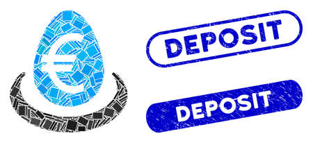 Mosaic Euro deposit and corroded stamp seals with Deposit caption. Mosaic vector Euro deposit is created with random rectangle items. Deposit stamp seals use blue color, Ilustracja