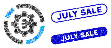 Collage Euro diagram configuration and distressed stamp seals with July Sale phrase. Mosaic vector Euro diagram configuration is created with randomized rectangle items.