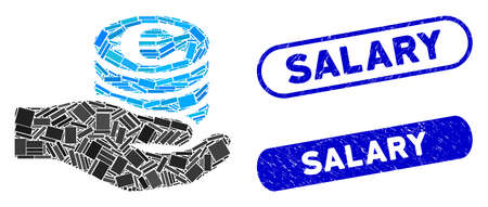 Mosaic Euro salary and grunge stamp watermarks with Salary caption. Mosaic vector Euro salary is designed with random rectangle items. Salary stamp seals use blue color,