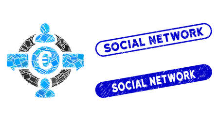 Mosaic Euro social network and corroded stamp seals with Social Network text. Mosaic vector Euro social network is formed with randomized rectangle items. Social Network stamp seals use blue color, Illusztráció