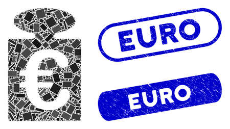 Mosaic Euro weight and corroded stamp seals with Euro caption. Mosaic vector Euro weight is created with randomized rectangle items. Euro seals use blue color, and have round rectangle shape. Ilustracja
