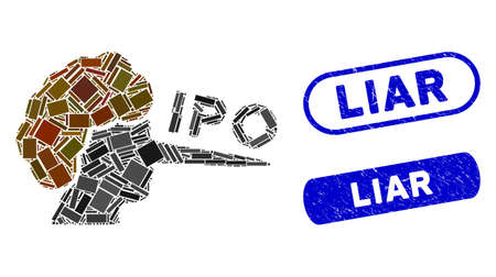 Mosaic IPO liar and rubber stamp seals with Liar caption. Mosaic vector IPO liar is created with randomized rectangles. Liar stamp seals use blue color, and have round rectangle shape.