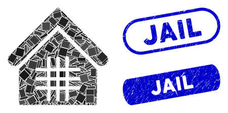 Mosaic jail and rubber stamp seals with Jail text. Mosaic vector jail is created with random rectangle items. Jail stamp seals use blue color, and have round rectangle shape.