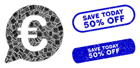 Mosaic Euro message bubble and rubber stamp seals with Save Today 50% Off caption. Mosaic vector Euro message bubble is composed with random rectangle items. Illusztráció