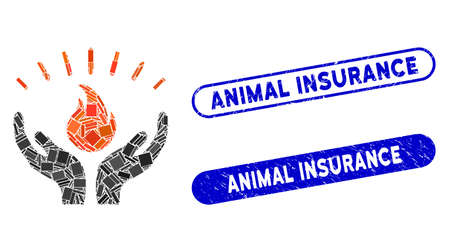 Mosaic fire care hands and grunge stamp seals with Animal Insurance text. Mosaic vector fire care hands is designed with scattered rectangle items. Animal Insurance stamp seals use blue color,