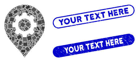 Mosaic gear factory marker and rubber stamp seals with Your Text Here phrase. Mosaic vector gear factory marker is created with scattered rectangle items. Your Text Here stamp seals use blue color,