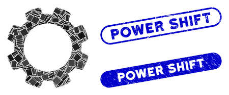 Mosaic gear and corroded stamp seals with Power Shift phrase. Mosaic vector gear is designed with scattered rectangle items. Power Shift seals use blue color, and have round rectangle shape. Stock Illustratie
