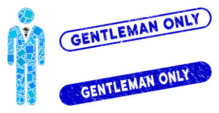 Mosaic gentleman and distressed stamp seals with Gentleman Only text. Mosaic vector gentleman is created with random rectangle items. Gentleman Only seals use blue color,