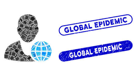 Mosaic global manager and grunge stamp watermarks with Global Epidemic caption. Mosaic vector global manager is formed with random rectangle items. Global Epidemic stamp seals use blue color,