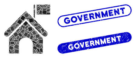 Mosaic government building with flag and corroded stamp seals with Government text. Mosaic vector government building with flag is designed with scattered rectangle items.