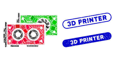 Mosaic GPU cards and grunge stamp seals with 3D Printer text. Mosaic vector GPU cards is composed with randomized rectangle items. 3D Printer stamp seals use blue color, Illustration