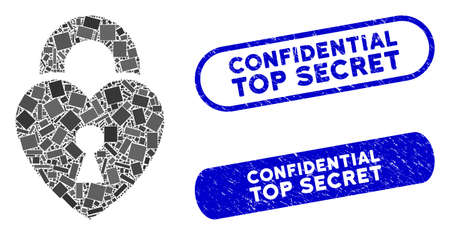 Mosaic heart lock and rubber stamp seals with Confidential Top Secret text. Mosaic vector heart lock is created with randomized rectangles. Confidential Top Secret seals use blue color,