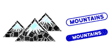 Mosaic icecap mountains and distressed stamp watermarks with Mountains text. Mosaic vector icecap mountains is formed with randomized rectangle items. Mountains stamps use blue color, Ilustração