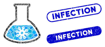 Mosaic infection retort and distressed stamp seals with Infection text. Mosaic vector infection retort is created with randomized rectangle items. Infection seals use blue color, Illustration