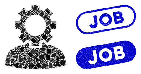 Mosaic job and rubber stamp seals with Job caption. Mosaic vector job is created with randomized rectangle items. Job stamp seals use blue color, and have round rectangle shape. 일러스트
