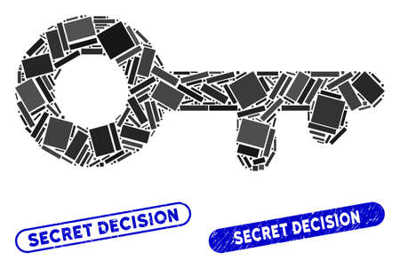 Mosaic key and corroded stamp seals with Secret Decision caption. Mosaic vector key is formed with randomized rectangles. Secret Decision stamp seals use blue color, and have round rectangle shape.