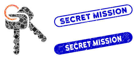 Mosaic keys and grunge stamp seals with Secret Mission phrase. Mosaic vector keys is created with randomized rectangle items. Secret Mission stamp seals use blue color, and have round rectangle shape.