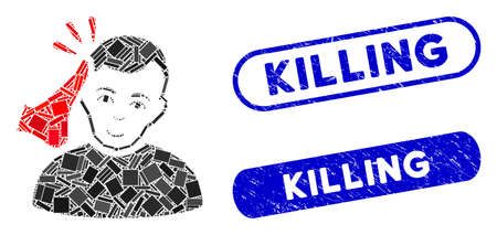 Mosaic kickboxer and corroded stamp seals with Killing caption. Mosaic vector kickboxer is designed with scattered rectangles. Killing seals use blue color, and have round rectangle shape. Ilustrace