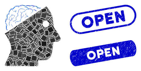 Collage open brain and distressed stamp seals with Open caption. Mosaic vector open brain is designed with scattered rectangle items. Open stamp seals use blue color, and have round rectangle shape.