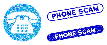 Mosaic phone number and corroded stamp watermarks with Phone Scam text. Mosaic vector phone number is designed with scattered rectangle items. Phone Scam stamp seals use blue color,