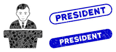 Mosaic politician and grunge stamp seals with President caption. Mosaic vector politician is created with randomized rectangles. President stamp seals use blue color, and have round rectangle shape.