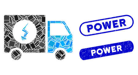 Mosaic power supply van and distressed stamp watermarks with Power phrase. Mosaic vector power supply van is created with scattered rectangle items. Power stamp seals use blue color,
