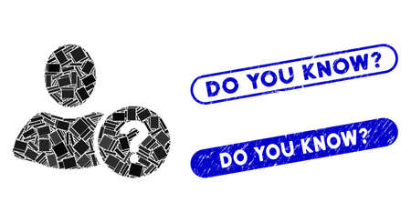 Mosaic question and grunge stamp seals with Do You Know? phrase. Mosaic vector question is designed with randomized rectangle items. Do You Know? stamp seals use blue color,