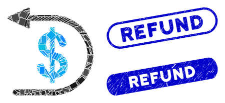 Mosaic refund and rubber stamp seals with Refund caption. Mosaic vector refund is created with random rectangle items. Refund seals use blue color, and have round rectangle shape.