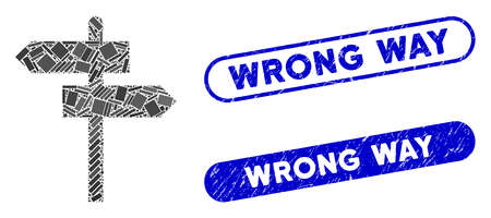 Mosaic road pointer and grunge stamp seals with Wrong Way phrase. Mosaic vector road pointer is composed with randomized rectangle items. Wrong Way stamp seals use blue color, Ilustrace