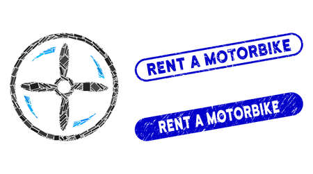 Collage rotating screw and corroded stamp seals with Rent a Motorbike phrase. Mosaic vector rotating screw is designed with scattered rectangle items. Rent a Motorbike stamp seals use blue color, Illusztráció