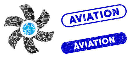 Mosaic rotor and rubber stamp seals with Aviation caption. Mosaic vector rotor is created with randomized rectangle items. Aviation stamp seals use blue color, and have round rectangle shape.