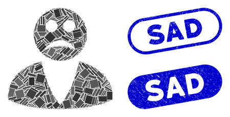 Mosaic sad user and corroded stamp seals with Sad phrase. Mosaic vector sad user is composed with randomized rectangles. Sad stamp seals use blue color, and have round rectangle shape.