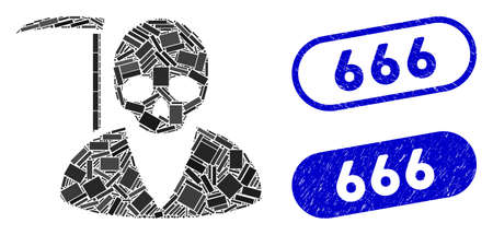 Mosaic scytheman and grunge stamp seals with 666 caption. Mosaic vector scytheman is created with random rectangle items. 666 stamp seals use blue color, and have round rectangle shape.