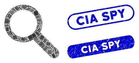 Mosaic search tool and grunge stamp seals with CIA Spy text. Mosaic vector search tool is designed with randomized rectangles. CIA Spy stamp seals use blue color, and have round rectangle shape.