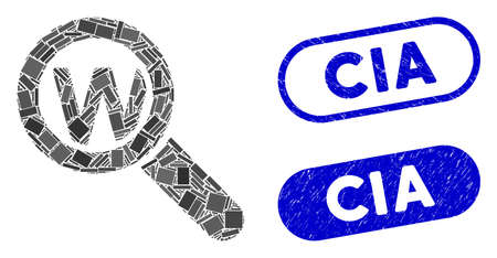 Mosaic search word and grunge stamp seals with CIA caption. Mosaic vector search word is formed with randomized rectangles. CIA stamp seals use blue color, and have round rectangle shape. Ilustração