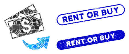Mosaic send money and rubber stamp seals with Rent or Buy caption. Mosaic vector send money is formed with scattered rectangle items. Rent or Buy stamp seals use blue color,