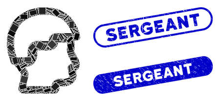 Mosaic sergeant head and rubber stamp seals with Sergeant caption. Mosaic vector sergeant head is designed with randomized rectangle items. Sergeant stamp seals use blue color,