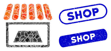 Mosaic shop and corroded stamp seals with Shop text. Mosaic vector shop is designed with randomized rectangle items. Shop stamp seals use blue color, and have round rectangle shape.