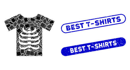 Mosaic skeleton T-shirt and corroded stamp watermarks with Best T-Shirts text. Mosaic vector skeleton T-shirt is created with scattered rectangle items. Best T-Shirts stamp seals use blue color,