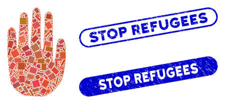 Mosaic stop hand and distressed stamp watermarks with Stop Refugees phrase. Mosaic vector stop hand is created with randomized rectangle items. Stop Refugees stamp seals use blue color,
