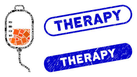 Collage therapy dropper and distressed stamp seals with Therapy phrase. Mosaic vector therapy dropper is designed with random rectangles. Therapy stamp seals use blue color, Ilustracja
