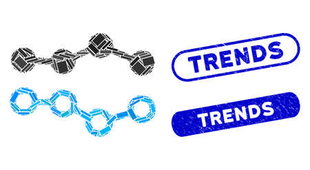 Mosaic trends and grunge stamp seals with Trends text. Mosaic vector trends is composed with randomized rectangles. Trends stamp seals use blue color, and have round rectangle shape.