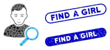 Mosaic user search and rubber stamp watermarks with Find a Girl text. Mosaic vector user search is designed with scattered rectangle items. Find a Girl stamp seals use blue color, Foto de archivo - 139419495