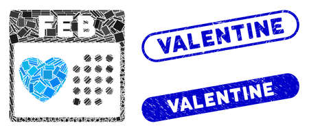 Mosaic valentine February day and rubber stamp seals with Valentine text. Mosaic vector valentine February day is formed with randomized rectangles. Valentine stamp seals use blue color, Illusztráció