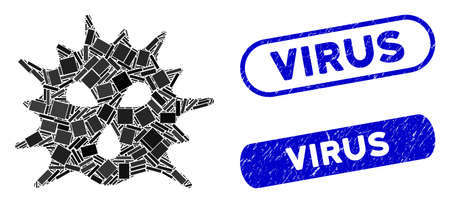 Mosaic virus and distressed stamp seals with Virus caption. Mosaic vector virus is formed with randomized rectangle items. Virus stamp seals use blue color, and have round rectangle shape.