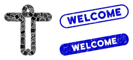 Collage welcome person and distressed stamp seals with Welcome phrase. Mosaic vector welcome person is composed with randomized rectangle items. Welcome seals use blue color, Vettoriali