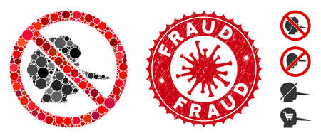 Mosaic no faker icon and red round rubber stamp seal with Fraud caption and coronavirus symbol. Mosaic vector is formed with no faker pictogram and with randomized round spots.