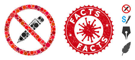 Mosaic no pencil icon and red rounded grunge stamp watermark with Facts phrase and coronavirus symbol. Mosaic vector is formed with no pencil icon and with scattered spheric items. Vector Illustration