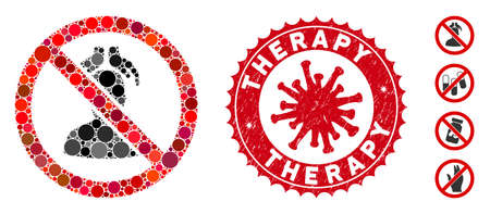 Mosaic no head massage icon and red round grunge stamp watermark with Therapy phrase and coronavirus symbol. Mosaic vector is designed with no head massage icon and with random spheric spots.